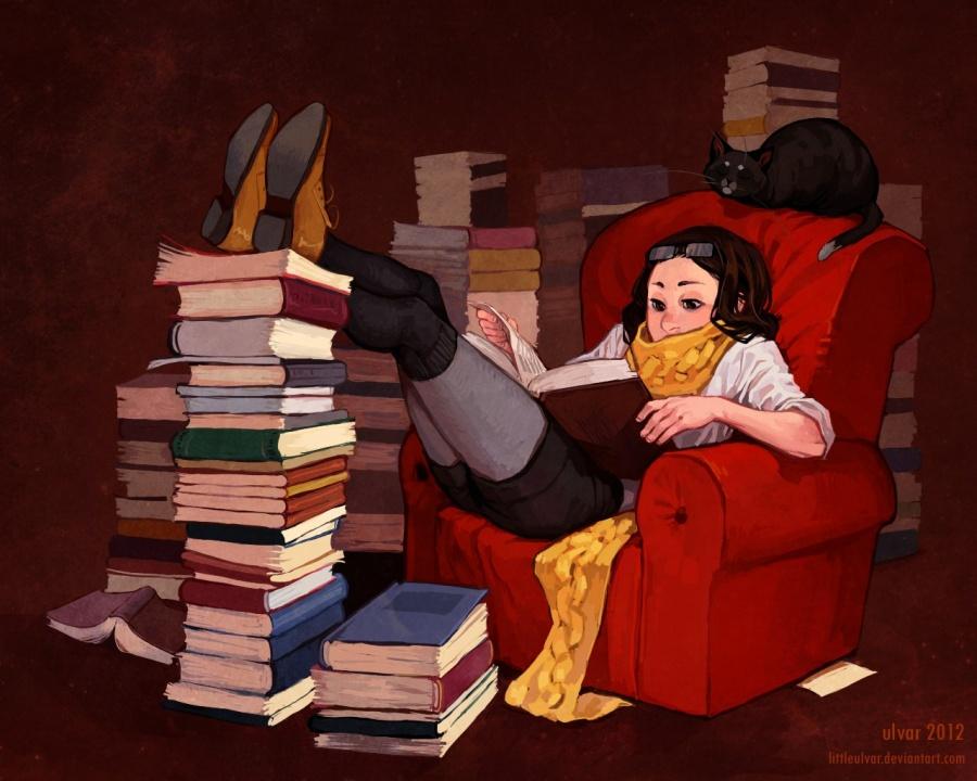 Открытка про чтение